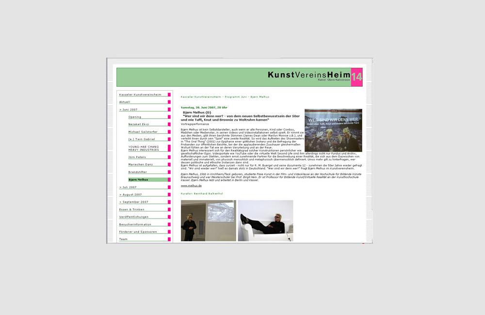 Kunstvereinsheim temporäre Webseite